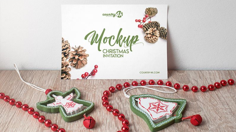 Christmas Invitation Card Free Psd Mockup Mockup Free