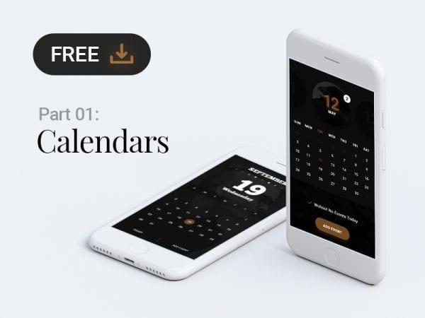 Free Calendar App PSD Design