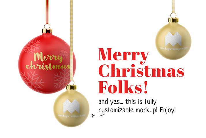Free Christmas Tree Balls MockUp PSD