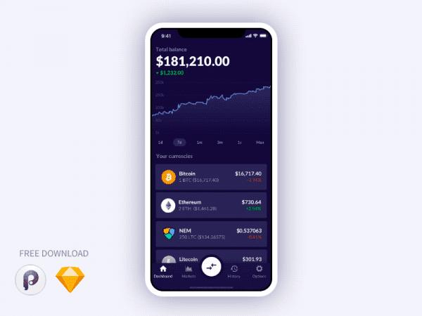 Free Crypto Wallet App Design In PSD