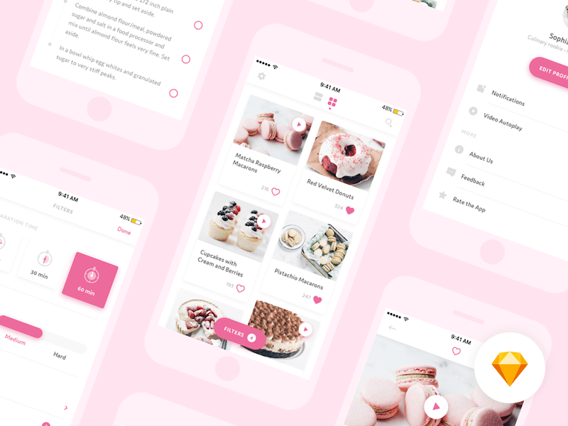 Free Dessert App Design In PSD