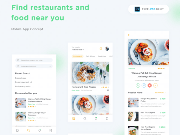 Free Restaurant App Design In PSD