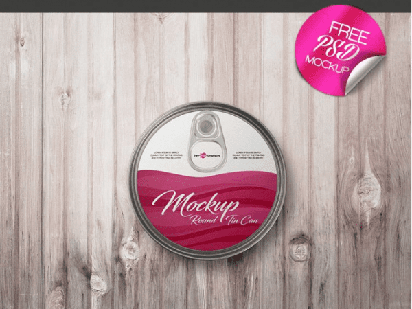 Round Tin Can Free PSD MockUp