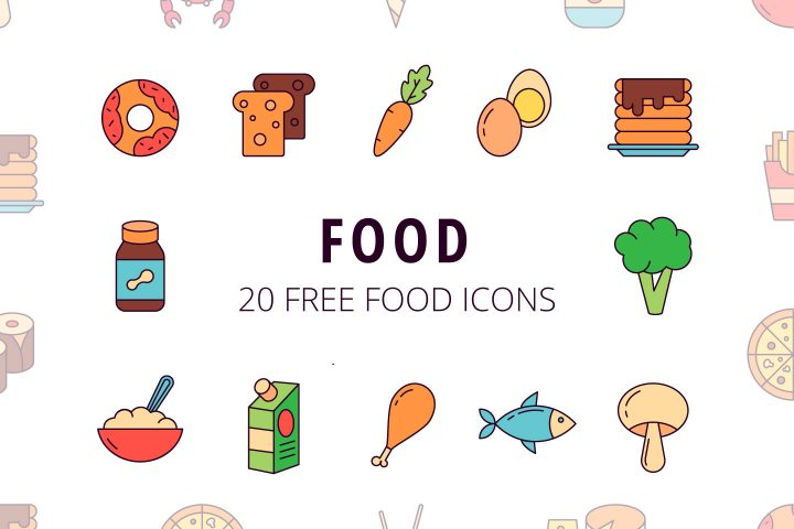 Set Of 20 High-quality Food Icon Vector
