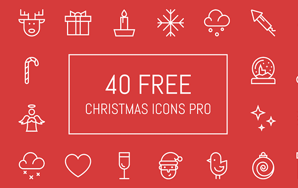 Set Of 40 Lined Christmas Icons Free Download