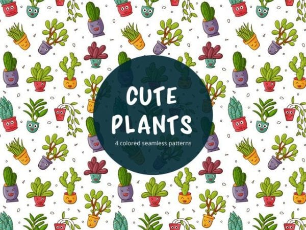 Set Of Cute Plant Vector Patterns