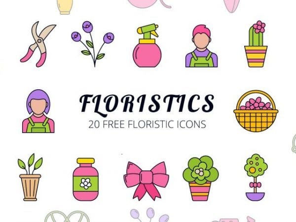 Set Of Floristic Free Vector Icons