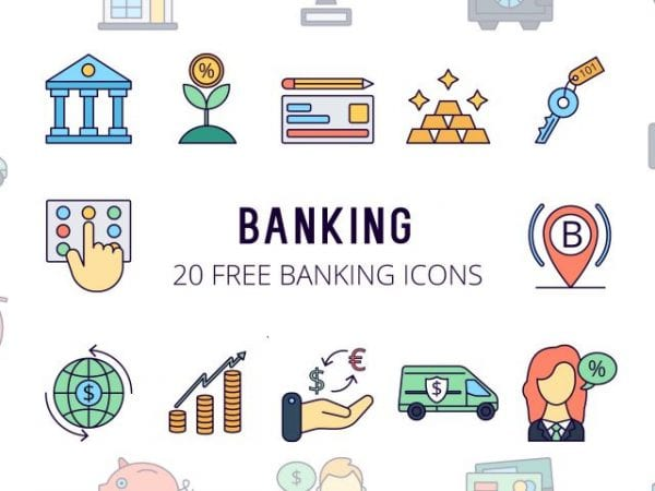 Set Of Free Bank Icon Vector