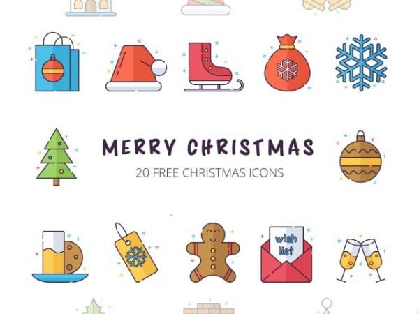 Set Of Free Christmas Icons Vector