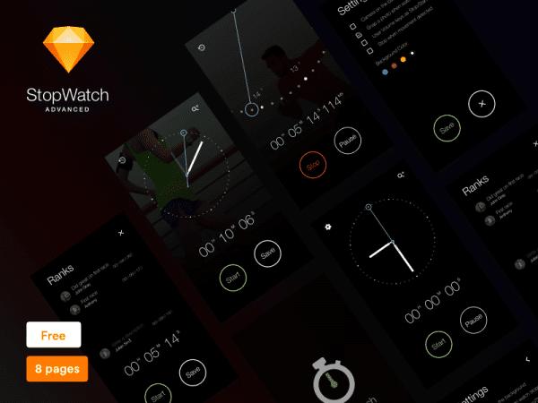 StopWatch App Design In PSD