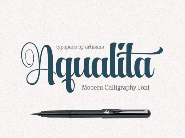 Aqualita Calligraphy Script Font