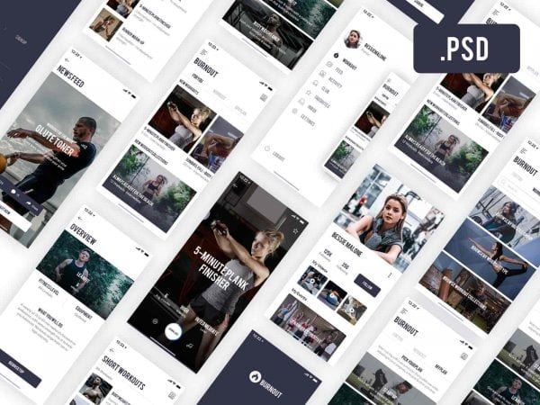 Awesome Fitness App Design In PSD