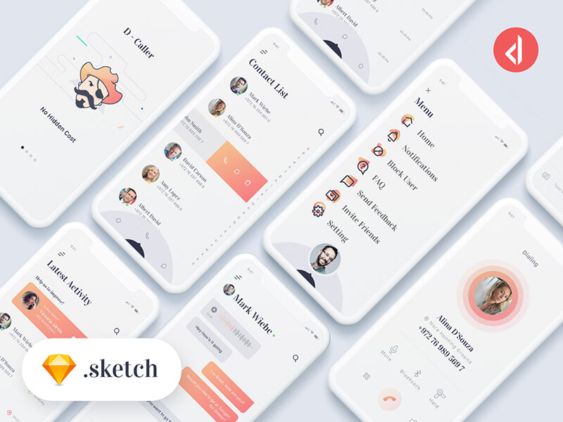 D-Caller Free Mobile UI Kit