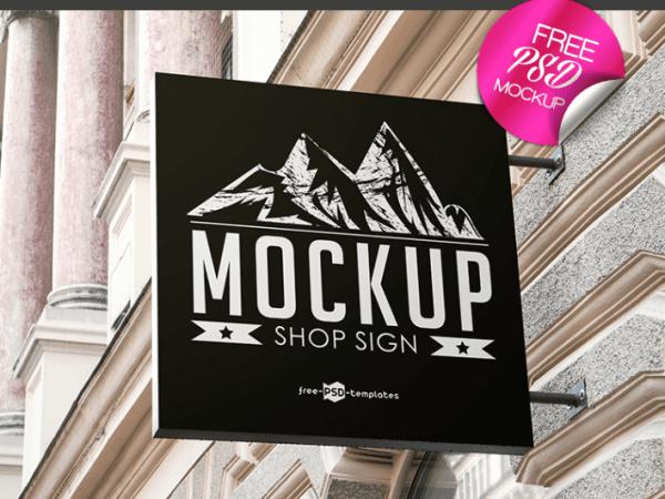 Elegant Shop Sign Mockup PSD Template