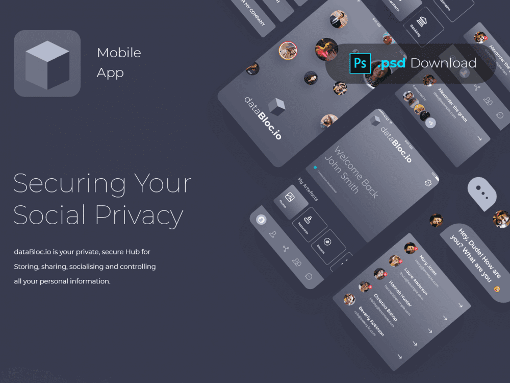 Free Blockchain Mobile App Design In PSD