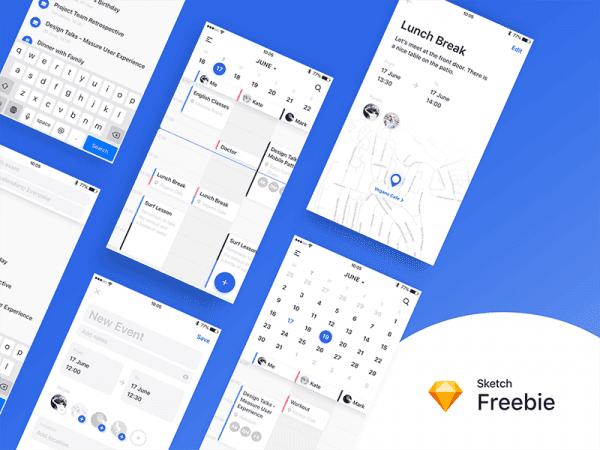Free Calendar App Design In PSD