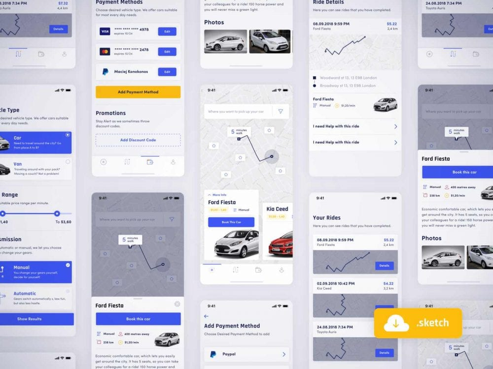 Free Car Sharing App Design In PSD