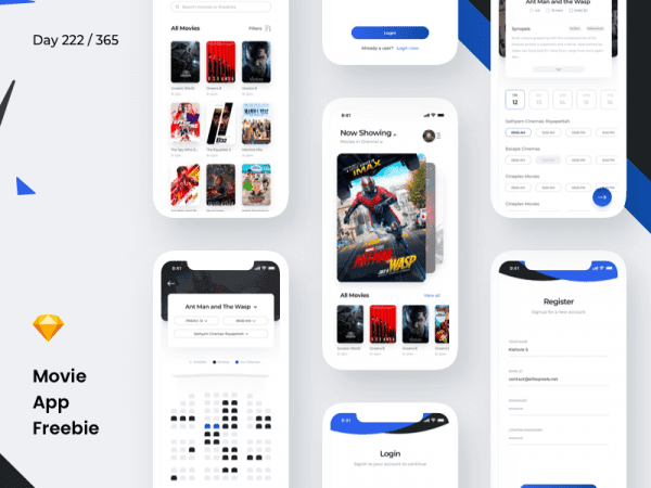 Free Movie Booking App PSD Template