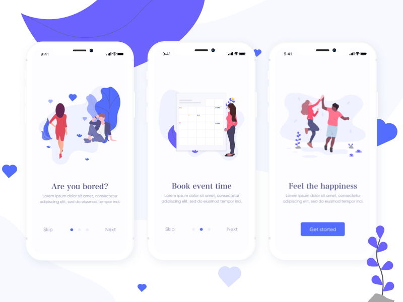 Free Onboarding App Screens Design In PSD
