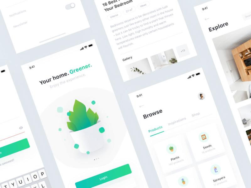 Free Plant App UI Kit Design - Mockup Free Downloads