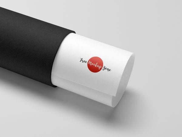 Paper Tube Logo PSD MockUp Template