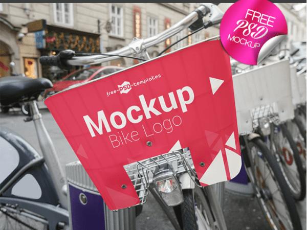 Photorealistic Bike Logo Free PSD MockUp