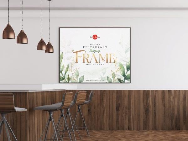 Restaurant Interior Frame PSD MockUp Template