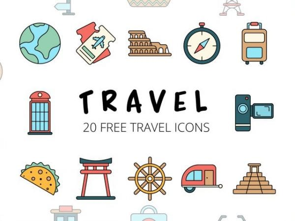 Set Of 20 High-quality Travel Free Icons