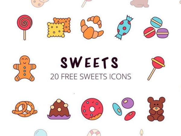 Set Of 20 high-quality Sweet Icon