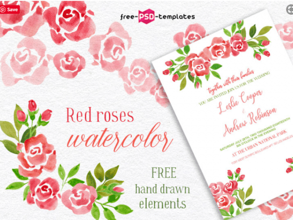 Set Of Amazing Watercolor Red Rose
