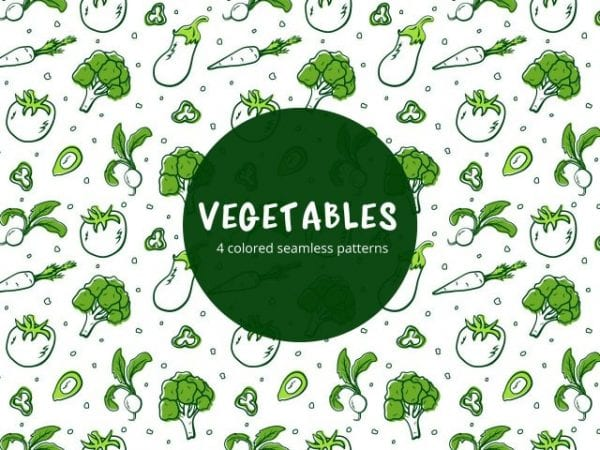 Set Of Colored Free Vegetable Pattern