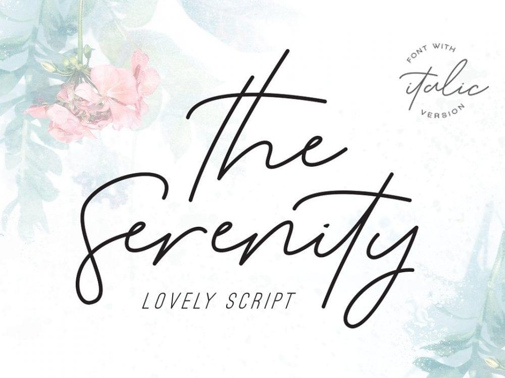 The Serenity Modern Handwritten Script Font - Mockup Free Downloads