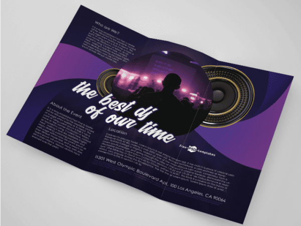 DJ Party Trifold Brochure PSD MockUp