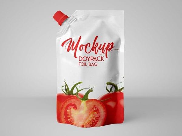 Elegant Doypack Foil Bag MockUp PSD Template