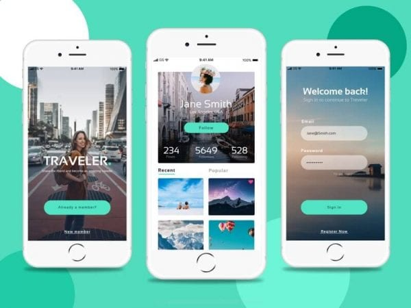 Free Traveler Apps Design In PSD