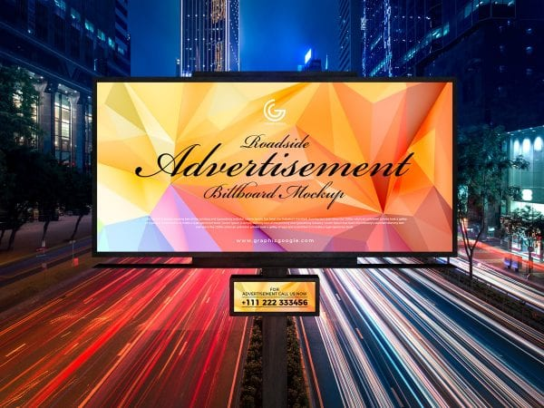 Roadside Outdoor Billboard Advertising PSD MockUp Template