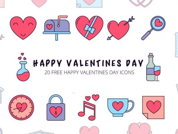 Set Of 20 Free Happy Valentines Day Icons