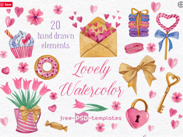 Set Of 20 Hand drawn Watercolor Elements