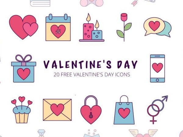 Set Of 20 High-quality Valentines Day Icons