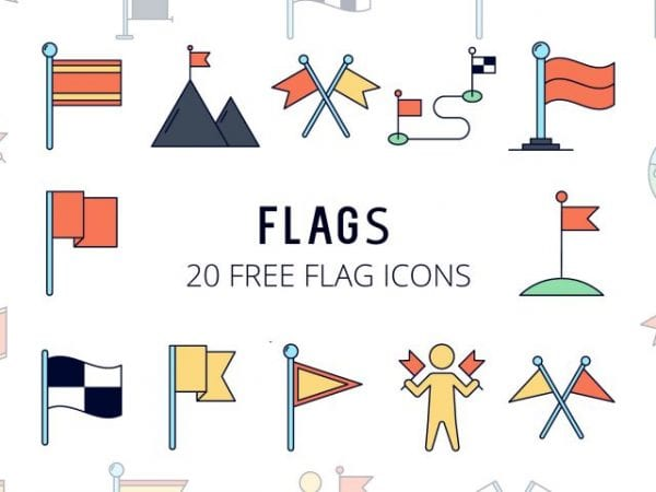 Set Of 20 high-quality Free Flag Icons