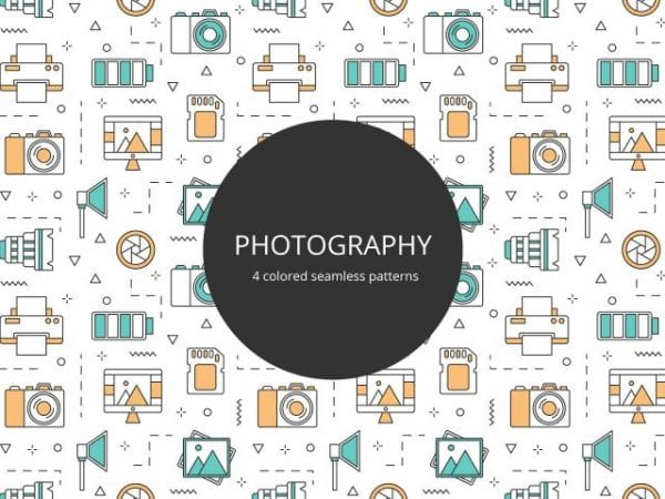 Set Of 4 Colored Photography Seamless Pattern 1