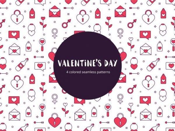Set Of 4 Seamless Valentines Day Pattern