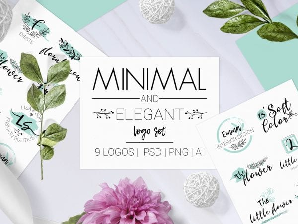 Set Of 9 Elegant Free Minimal Logo