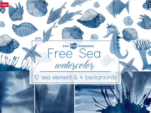 Set Of Free Sea Watercolor
