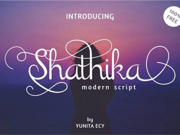Shathika Calligraphy Script Font