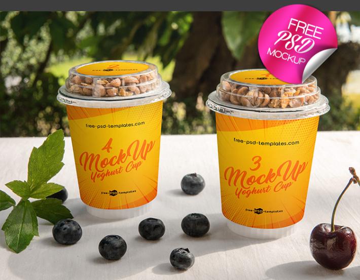 Yoghurt Cup Free PSD MockUp Template