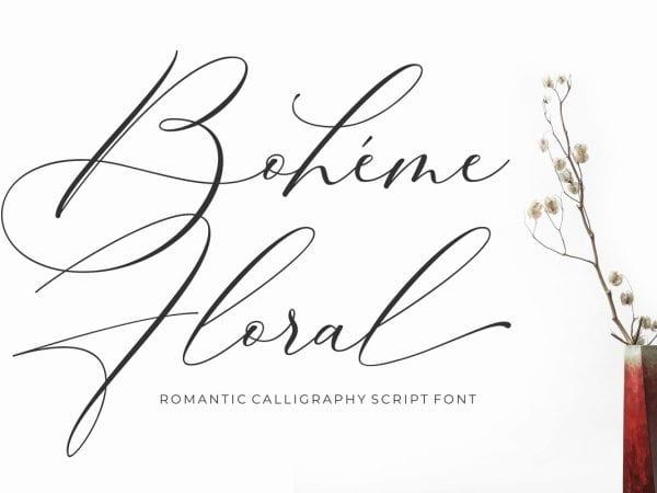 Boheme Floral Calligraphy Script Font