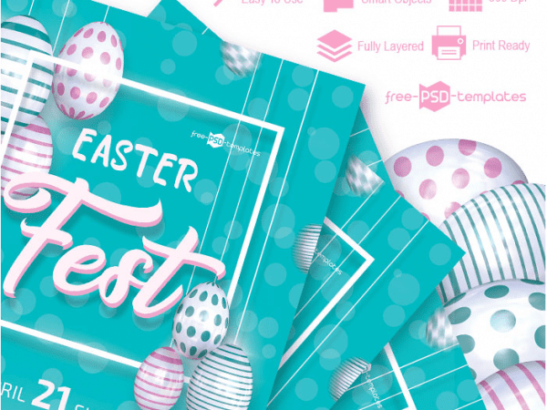 Easter Fest Flyer PSD MockUp Template