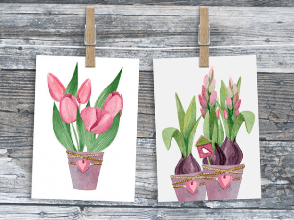 Set Of 17 Free Spring Watercolor