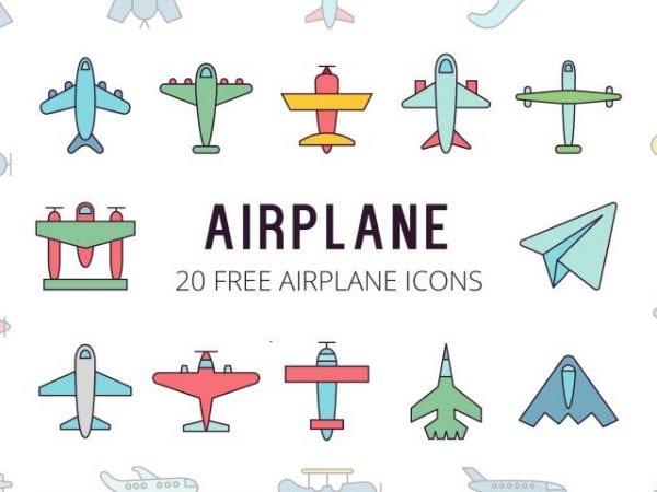 Set Of 20 Free Airplane Icons